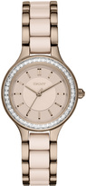 DKNY Chambers Stainless Steel and Beige Ceramic 3 Hand Watch