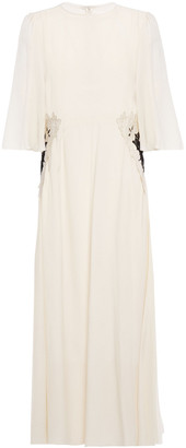 See by Chloe Lace-trimmed Floral-appliqued Crepe De Chine Midi Dress