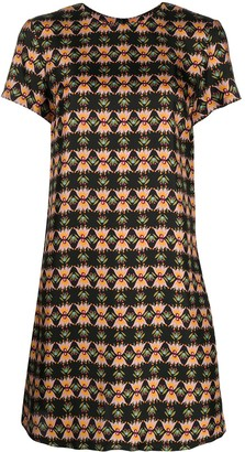 La DoubleJ Abstract Print Silk Shift Dress