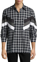 Neil Barrett Retro Tartan Modernist-Stripe Shirt, Gray