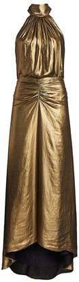 Halston Ruched Metallic Gown