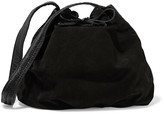 Maje Leather-trimmed suede shoulder bag