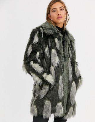 Urban Code Urbancode longline coat in textured faux fur-Multi