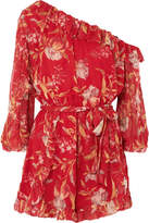 Zimmermann Corsair One-shoulder Printed Silk-crepon Playsuit - Crimson