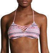 Arizona Mix & Match Mod Dream Coral-Print Bralette Swim Top