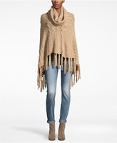 David & Young Mixed Cable Knit Turtleneck Poncho