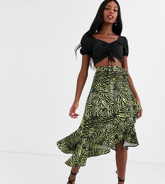 John Zack Tall asymmetric ruffle midi skirt in lime zebra-Multi
