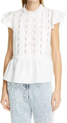 Sea Ingrid Flutter Sleeve Cotton Blouse