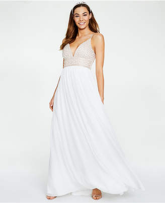 Say Yes to the Prom Juniors' Beaded-Bodice Chiffon Gown