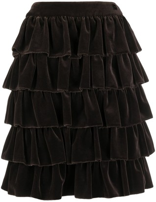 Chanel Pre Owned Flared Ruffle Skirt