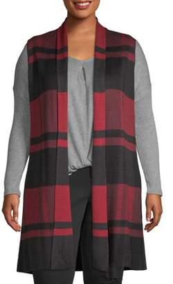 Jillian Nicole Women's Plus Size Long Open Shawl Collar Vest