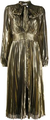 Equipment pleated long-sleeve shirt dress