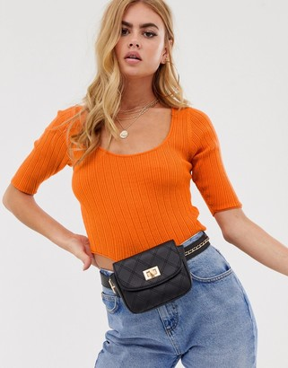 Asos Design DESIGN scoop neck short sleeve sweater in fine knit rib-Orange
