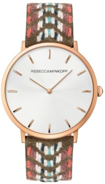 Rebecca Minkoff Women's Major Jacquard Embroidered Leather Strap Watch 40mm