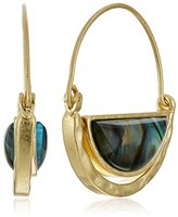 "lonna & lilly Modern Abalone"" Click It Blue Hoop Earrings"