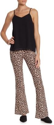 Wild Honey Elasticized Waist Leopard Flare Pants