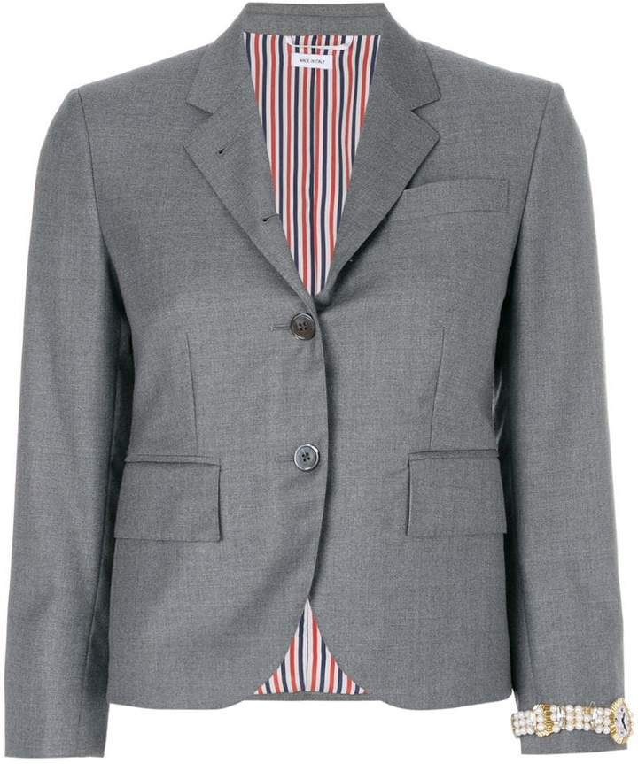 Thom Browne Classic Single Breasted Sport Coat With Wristwatch Applique In Super 120's Twill