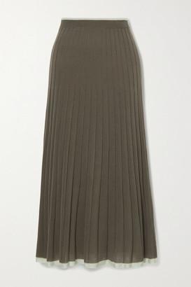 Lee Mathews Pleated Stretch-tencel Midi Skirt
