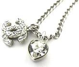 Chanel Coco Mark Silver Tone Metal with Rhinestone Necklace