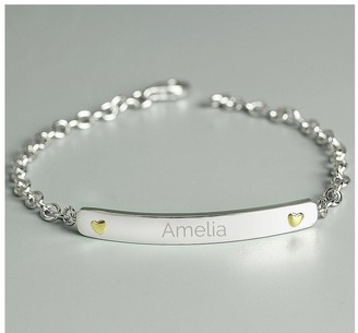 The Love Silver Collection Personalised Sterling Silver Bar Bracelet with 9ct Gold Heart Detail