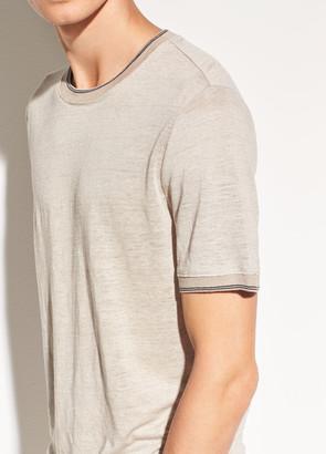 Vince Ribbed Linen Short Sleeve