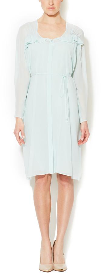 See by Chloe Silk Chiffon Belted Ruffle Dress