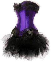 Ya Lida Women's Fashion Lace up Satin Padded Cup Corset with tutu Skirt X-Large