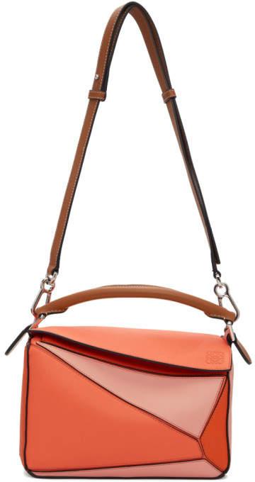 Loewe Orange and Pink Small Puzzle Bag