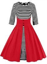 LACUS-CA Women's 3/4 Sleeve Striped A Line Vintage Cocktail Party Evening Dress (2XL, )