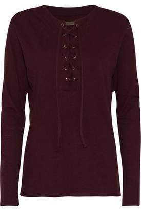 Enza Costa Lace-up Melange Cotton And Cashmere-blend Top