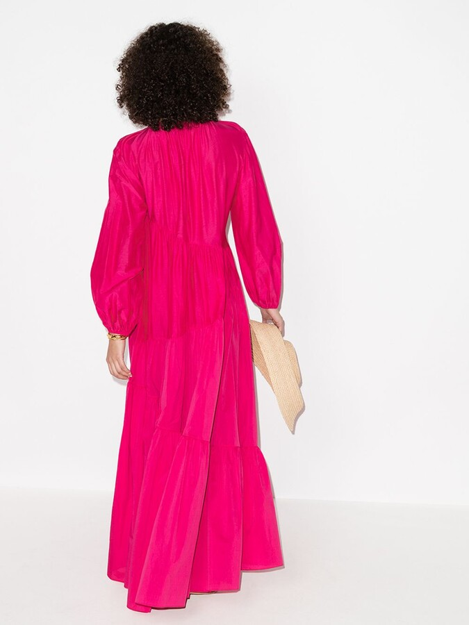 Thumbnail for your product : Matteau Pink Asymmetric Tiered Maxi Dress