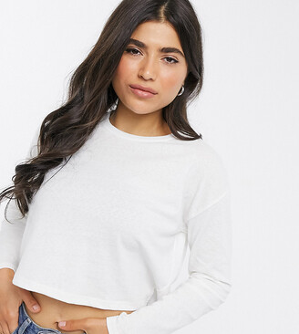 Asos DESIGN Petite boxy linen mix t-shirt in white