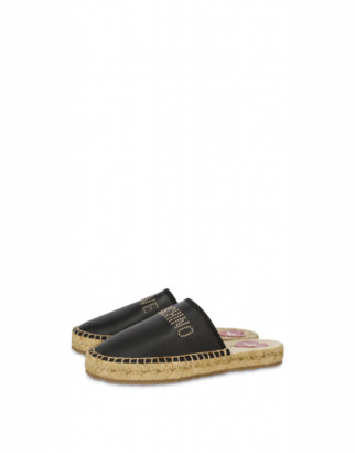 Love Moschino Espadrilles Sandals With Studded Logo Woman Black Size 36