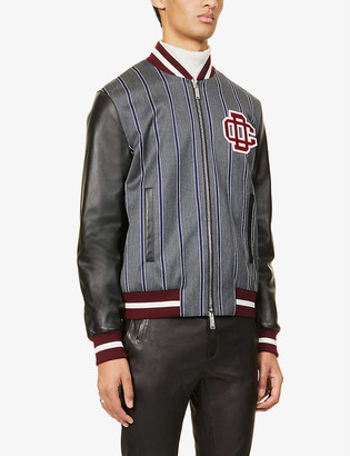 DSQUARED2 Striped wool and cotton varsity jacket