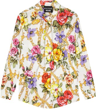 Boutique Moschino White floral-print blouse