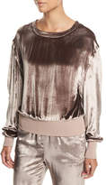 Rag & Bone Crewneck Ruched Sleeves Velvet Pullover Sweater