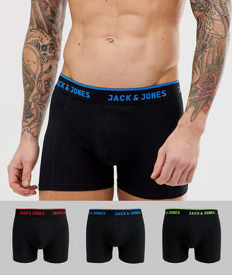 Jack and Jones 3 pack trunks with neon text waistband-Black
