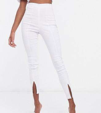 Vesper Tall skinny pants with split front detail co ord in white
