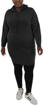Full Circle Trends Trendy Plus Size Hooded Sweater Dress