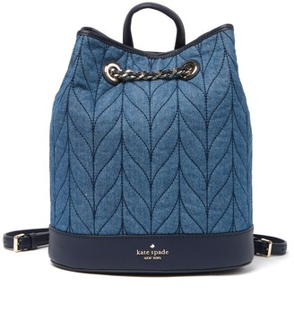 Kate Spade Leather Briar Lane Quilted Denim Bucket Backpack