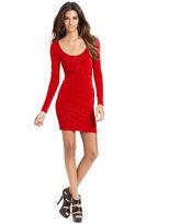 GUESS Dress, Long-Sleeve Scoop-Neck Sparkle Mini
