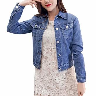 Doldoa Women Outerwear Women's Denim Jacket Sale Casual Long Sleeve Upgrade Lapel Denim Buttons Outwear(Blue M)