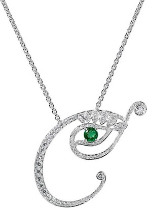 Tabayer Eye 18K White Gold, Emerald & Diamond Creative Pendant Necklace