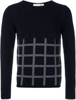 Comme des Garcons cut-out grid check jumper - men - Wool - S