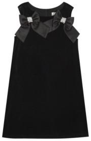 Rare Editions Big Girl Velvet Shift Dress With Satin Bow Detail