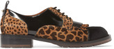 Valentino Leopard-print calf hair and leather brogues