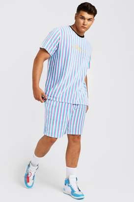 BoohoomanBoohooMAN Mens Pink Big & Tall MAN Velour Stripe Set, Pink