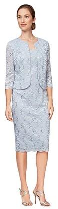 Alex Evenings Short Sequin Lace Shift Dress with Open Jacket (Hydrangea) Women's Dress