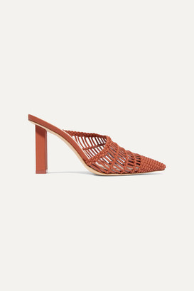 Cult Gaia Raya Woven Leather Mules - Brown