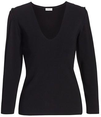 Akris Punto Mini Ruffle Puff-Sleeve Knit Sweater
